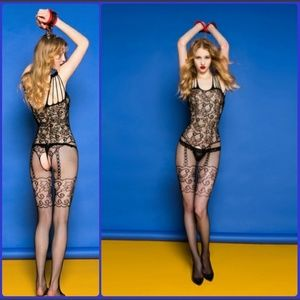 Other - BLACK FISHNET LACE LINGERIE BODYSUIT
